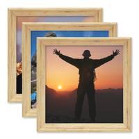 3er Set Vintage Bilderrahmen Shabby-Chic Eiche 20x20 cm Massivholz mit Glasscheibe und Zubehör / Fotorahmen / Portraitrahmen  – Bild 4