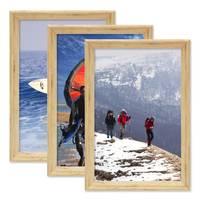3er Set Vintage Bilderrahmen Shabby-Chic Eiche 20x30 cm Massivholz mit Glasscheibe und Zubehör / Fotorahmen / Portraitrahmen  – Bild 1
