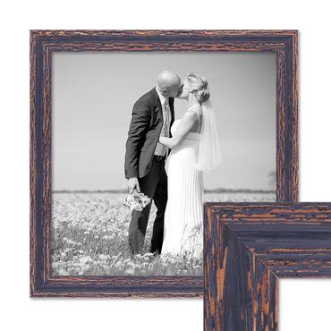 Vintage Bilderrahmen 40x40 cm Holz Dunkelbraun Shabby-Chic Massivholz mit Glasscheibe und Zubehör / Fotorahmen / Nostalgierahmen