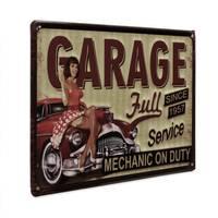 Blechschild Retro Pin Up Garage Full Service 20x30 cm Retro Metallschild Spruch Werkstatt