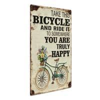 Blechschild Vintage Happy 30x40 cm Metallschild Spruch Fahrrad Typografie Nostalgieschild