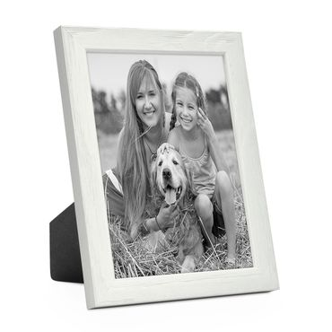 Bilderrahmen Weiss 13x18 cm Massivholz mit Acrylglasscheibe / Fotorahmen / Wechselrahmen