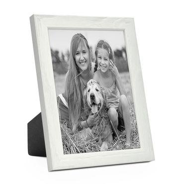 Bilderrahmen Weiss 18x24 cm Massivholz mit Acrylglasscheibe / Fotorahmen / Wechselrahmen