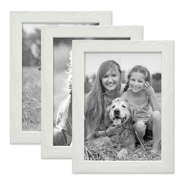 3er Set Bilderrahmen Weiss 13x18 cm Massivholz mit Acrylglasscheibe / Fotorahmen / Wechselrahmen