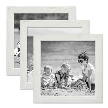 3er Set Bilderrahmen Weiss 15x15 cm Massivholz mit Acrylglasscheibe / Fotorahmen / Wechselrahmen