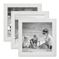 3er Set Bilderrahmen Weiss 15x15 cm Massivholz mit Acrylglasscheibe / Fotorahmen / Wechselrahmen – Bild 1