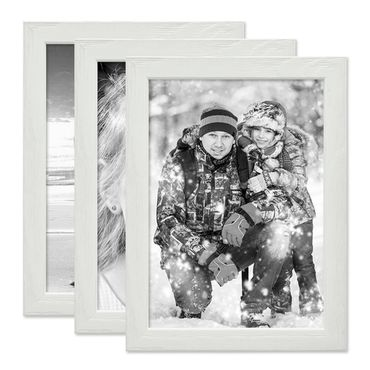 3er Set Bilderrahmen Weiss 15x20 cm Massivholz mit Acrylglasscheibe / Fotorahmen / Wechselrahmen