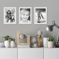 3er Set Bilderrahmen Weiss 15x20 cm Massivholz mit Acrylglasscheibe / Fotorahmen / Wechselrahmen – Bild 2