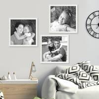 3er Set Bilderrahmen Weiss 20x20 cm Massivholz mit Acrylglasscheibe / Fotorahmen / Wechselrahmen – Bild 4