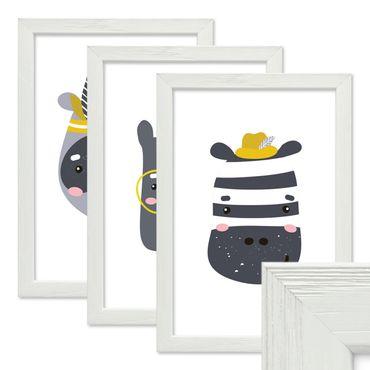 3er Set Bilderrahmen Weiss 20x30 cm Massivholz mit Acrylglasscheibe / Fotorahmen / Wechselrahmen