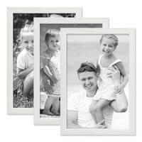 3er Set Bilderrahmen Weiss 20x30 cm Massivholz mit Acrylglasscheibe / Fotorahmen / Wechselrahmen – Bild 6