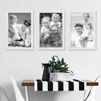 3er Set Bilderrahmen Weiss 21x30 cm / DIN A4 Massivholz mit Acrylglasscheibe / Fotorahmen / Wechselrahmen – Bild 5