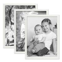 3er Set Bilderrahmen Weiss 30x40 cm Massivholz mit Acrylglasscheibe / Fotorahmen / Wechselrahmen – Bild 4