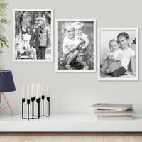 3er Set Bilderrahmen Weiss 30x40 cm Massivholz mit Acrylglasscheibe / Fotorahmen / Wechselrahmen – Bild 5