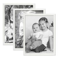 3er Set Bilderrahmen Weiss 30x42 cm / DIN A3 Massivholz mit Acrylglasscheibe / Fotorahmen / Wechselrahmen – Bild 4