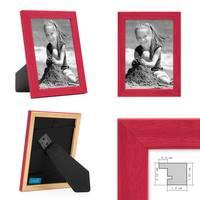 3er Set Bilderrahmen Rot 10x15 cm Massivholz mit Acrylglasscheibe / Fotorahmen / Wechselrahmen – Bild 2