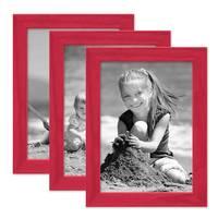 3er Set Bilderrahmen Rot mit Acrylglas 15x20 cm