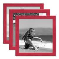 3er Set Bilderrahmen Rot mit Acrylglas 20x20 cm
