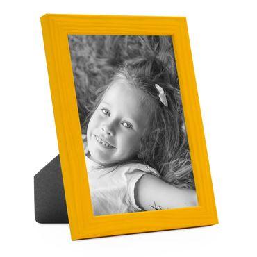 Bilderrahmen Gelb 18x24 cm Massivholz mit Acrylglasscheibe / Fotorahmen / Wechselrahmen