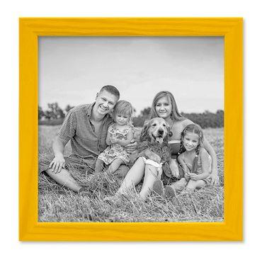 Bilderrahmen Gelb 20x20 cm Massivholz mit Acrylglasscheibe / Fotorahmen / Wechselrahmen
