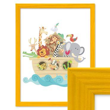 Bilderrahmen Gelb 30x45 cm Massivholz mit Acrylglasscheibe / Fotorahmen / Wechselrahmen