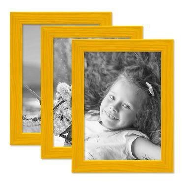 3er Set Bilderrahmen Gelb 13x18 cm Massivholz mit Acrylglasscheibe / Fotorahmen / Wechselrahmen