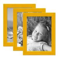 3er Set Bilderrahmen Gelb mit Acrylglas 13x18 cm