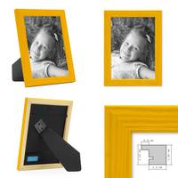 3er Set Bilderrahmen Gelb 13x18 cm Massivholz mit Acrylglasscheibe / Fotorahmen / Wechselrahmen – Bild 2