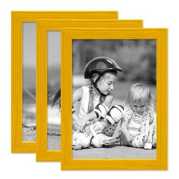3er Set Bilderrahmen Gelb 15x20 cm Massivholz mit Acrylglasscheibe / Fotorahmen / Wechselrahmen
