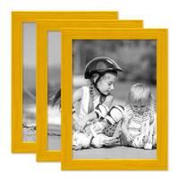 3er Set Bilderrahmen Gelb 15x20 cm Massivholz mit Acrylglasscheibe / Fotorahmen / Wechselrahmen – Bild 1