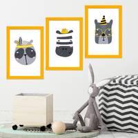3er Set Bilderrahmen Gelb 20x30 cm Massivholz mit Acrylglasscheibe / Fotorahmen / Wechselrahmen – Bild 2
