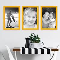 3er Set Bilderrahmen Gelb 21x30 cm / DIN A4 Massivholz mit Acrylglasscheibe / Fotorahmen / Wechselrahmen – Bild 5