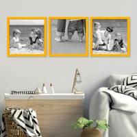 3er Set Bilderrahmen Gelb 30x30 cm Massivholz mit Acrylglasscheibe / Fotorahmen / Wechselrahmen – Bild 4