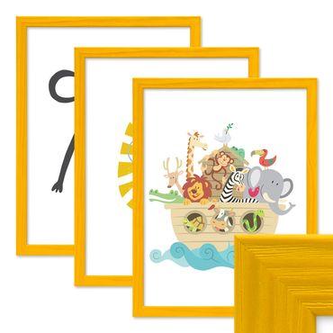 3er Set Bilderrahmen Gelb 30x42 cm / DIN A3 Massivholz mit Acrylglasscheibe / Fotorahmen / Wechselrahmen