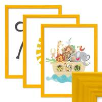 3er Set Bilderrahmen Gelb 30x42 cm / DIN A3 Massivholz mit Acrylglasscheibe / Fotorahmen / Wechselrahmen – Bild 1