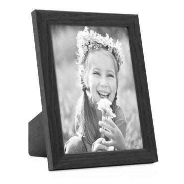 Bilderrahmen Schwarz 10x15 cm Massivholz mit Acrylglasscheibe / Fotorahmen / Wechselrahmen