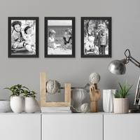 3er Set Bilderrahmen Schwarz 15x20 cm Massivholz mit Acrylglasscheibe / Fotorahmen / Wechselrahmen – Bild 2