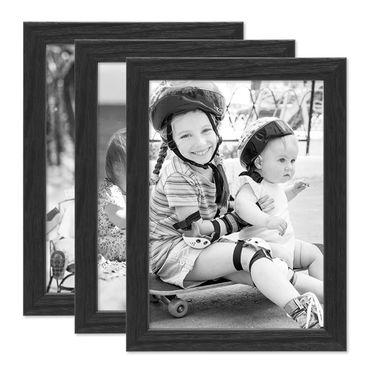 3er Set Bilderrahmen Schwarz 18x24 cm Massivholz mit Acrylglasscheibe / Fotorahmen / Wechselrahmen