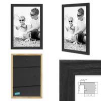 3er Set Bilderrahmen Schwarz 20x20 cm Massivholz mit Acrylglasscheibe / Fotorahmen / Wechselrahmen – Bild 2