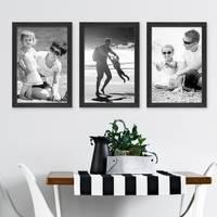 3er Set Bilderrahmen Schwarz 20x30 cm Massivholz mit Acrylglasscheibe / Fotorahmen / Wechselrahmen – Bild 5