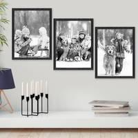 3er Set Bilderrahmen Schwarz 30x42 cm / DIN A3 Massivholz mit Acrylglasscheibe / Fotorahmen / Wechselrahmen – Bild 4
