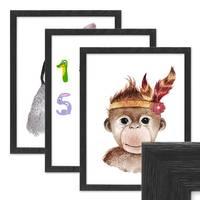 3er Set Bilderrahmen Schwarz 30x42 cm / DIN A3 Massivholz mit Acrylglasscheibe / Fotorahmen / Wechselrahmen – Bild 1
