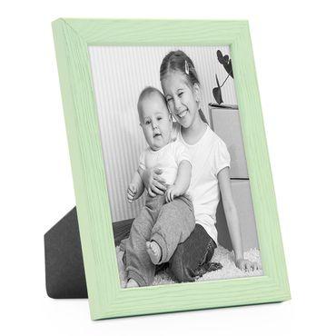 Bilderrahmen Grün 18x24 cm Massivholz mit Acrylglasscheibe / Fotorahmen Mint / Wechselrahmen