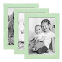3er Set Bilderrahmen Grün mit Acrylglas 10x15 cm