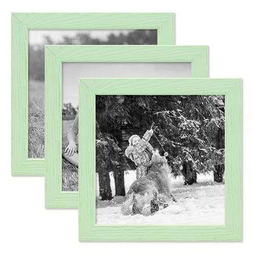 3er Set Bilderrahmen Grün 15x15 cm Massivholz mit Acrylglasscheibe / Fotorahmen Mint / Wechselrahmen