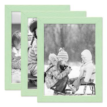 3er Set Bilderrahmen Grün 15x20 cm Massivholz mit Acrylglasscheibe / Fotorahmen Mint / Wechselrahmen