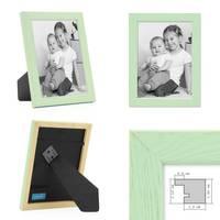 3er Set Bilderrahmen Grün 15x20 cm Massivholz mit Acrylglasscheibe / Fotorahmen Mint / Wechselrahmen – Bild 3
