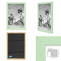 3er Set Bilderrahmen Grün 20x20 cm Massivholz mit Acrylglasscheibe / Fotorahmen Mint / Wechselrahmen – Bild 2