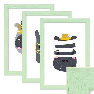 3er Set Bilderrahmen Grün 21x30 cm / DIN A4 Massivholz mit Acrylglasscheibe / Fotorahmen Mint / Wechselrahmen