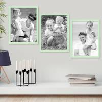 3er Set Bilderrahmen Grün 30x40 cm Massivholz mit Acrylglasscheibe / Fotorahmen Mint / Wechselrahmen – Bild 4